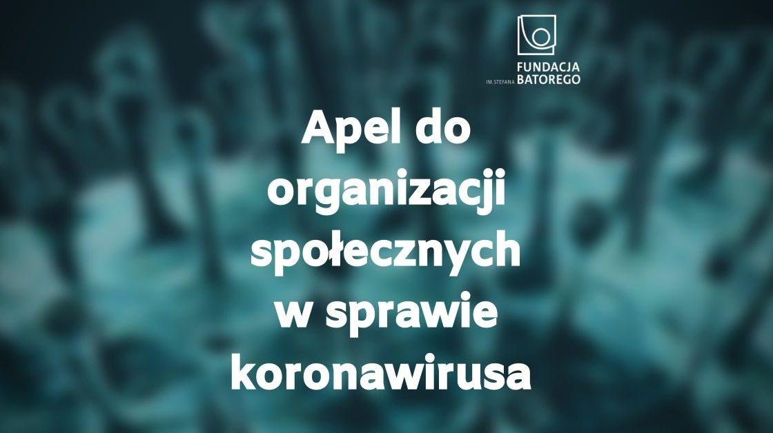 Apel do organizacji społecznych w związku z pandemią koronawirusa